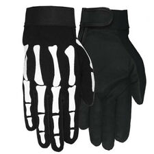 Motorcycle Skeleton Hand Bone Textile Mechanic Gloves Size MEDIUM