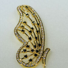 18K Yellow Gold Black & Clear CZ Lady Fashion Necklace Butterfly Pendant P1496-1
