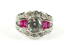 Art Deco 3.5ctw White Stone and Lab Ruby Coated Platinum Sterling Band Ring 131b