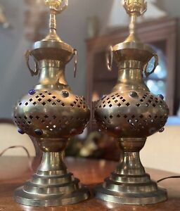 Two Hand Made, Pierced Brass Jeweled Table Lamps, Possibly Moroccan, Very Nice