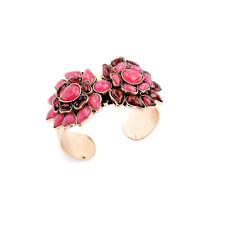 Bracelet Doré Rigide Manche Fleur Feu Rouge  Retro Original CT6
