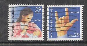 DEAF COMMUNICATION  #2783-2784 Used US 1993 29c Stamp Set