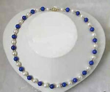 stunning 8mm round white freshwater pearls blue lapis lazuli necklace
