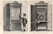 INDUSTRIE INDUSTRY SYSTEME BRUNNET DISTRIBUTEUR ELECTRIQUE IMAGE 1887 OLD PRINT