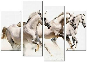 WHITE HORSES 4p 98x78cm Large  wall art canvas print artwork home living room