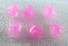 Vintage Pink Plastic Flower Bud Beads Lot of 6 Semi Translucent Jewelry making
