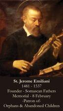 St Jerome Emiliani Prayer CARD (wallet size)