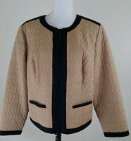 Chico's~Women's Size 2 (L)~Tan/Black Zip~Up Light Wear Jacket Fully Lined Blazer