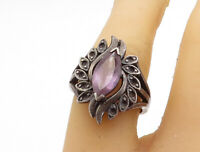 925 Sterling Silver - Vintage Amethyst Dark Tone Cocktail Ring Sz 7 - R17723