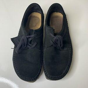 Clarks Originals Mens 9.5 US Black Suede Leather Wallabee Lace Up Boots 26117448
