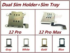 Lot OEM Dual Sim Card Reader Holder Slot + Sim Flex Tray For iPhone 12 Pro / Max