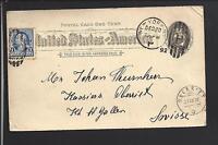 NEW YORK, NEW YORK 1892 GOVERNMENT POSTAL CARD, TRANSATLANTIC TO SWITZERLAND.