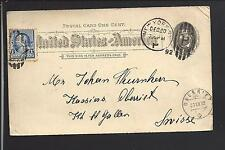 NEW YORK, NEW YORK 1892 GOVERNMENT POSTAL CARD, TRANSATLANTIC TO SWITZERLAND.
