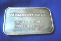 Vtg Madison Mint 1 oz .999 Plain Blank Back Silver Art Bar