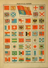 1899 Imprimé Drapeaux par Tout Nations Japon Burma Perse Espagne Italie Norvège