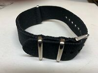 BLACK NYLON SPORTS QUALITY ZULU WATCH BAND DIVE MILITARY 20MM