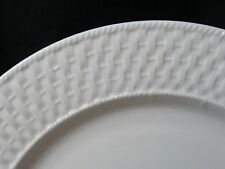 """LivingQuarters China Basketweave Pattern All White Round Platter Chop Plate 12"""""""