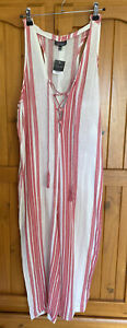 Topshop Ladies Red /white Striped Jumpsuit Size S Bnwt
