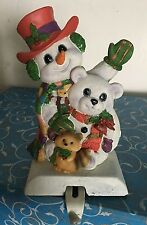 "SNOWMAN CHRISTMAS STOCKING HANGER HOLDER 5"" RESIN w/ CAST IRON BASE Adj. Hook"