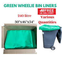 Green wheelie bin liners 30″x46″x54″ refuse sack bin liners rubbish bags UK