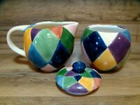 TABLETOPS UNLIMITED - DIAMONDS / CARNIVAL - CREAMER & COVERED SUGAR BOWL SET