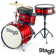 Stagg TIM-312JR Ultra Deluxe Retro Style Kids Drum Set - RED + Sticks, Cymbals