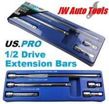 """5pc 1/2"""" DRIVE SOCKET EXTENSION BAR SET by US PRO TOOLS 50mm to 375mm"""