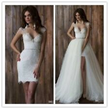 Lace Wedding Dress With Detachable Tulle Skirt A Line Bridal Ball Gowns Custom