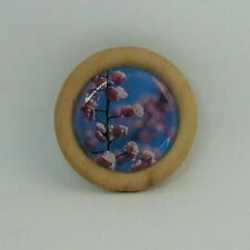 ROUND WOODEN BACKED BROOCH 4.5CM BROOCH SCARF PIN PINK CHERRY BLOSSOM