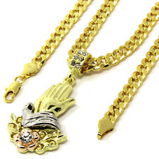 "Mens Gold Plated Hip-Hop Rose Prayer Hands Pendant 30"" Cuban Chain Necklace F64"