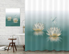 Water Lily Reflection Dragonfly Bathroom Decor Fabric Shower Curtain & Painting