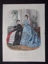 GRAVURE MODE 19e - MODE ILLUSTRÉE - TOILETTES MME ROSSIGNON 1870  - GRAND FORMAT