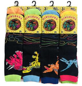 Girls Boys 6 Pairs Children's Kids Soft Socks Designer dinosaur Print All Sizes