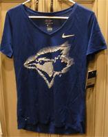 """Women's 18.5"""" Large Nike MLB TORONTO BLUE JAYS Baseball V-Neck Shirt DRI-FIT"""