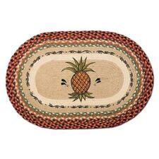 Pineapple 20x30 Hand Printed Oval Braided Floor Rug OP-375