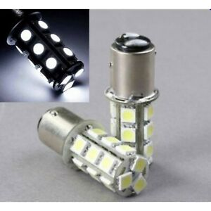 White LED #1157 12 Volt Tail Light Brake Stop Turn Signal Lamp Bulbs Pair 18SMD