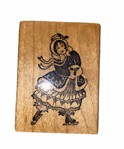 PSX F-322 Woman Ice Skating Wood Mounted Rubber Stamp VTG Victorian Crafts