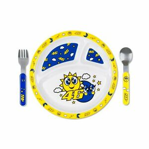 Valentino Rossi VR46 Sun & Moon Baby Meal Plate Fork and Spoon Set - Multicolour