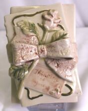 Fitz And Floyd Thinking Of You Pink Rose Ceramic Poetry Book Trinket Jewelry Box