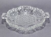 Vintage Clear Pressed Glass Cane Panels Bubbles Relish Tray Candy Dish