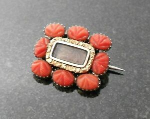 Georgian Gold Mourning Brooch, Carved Coral, 1800s Jewellery, With Hair