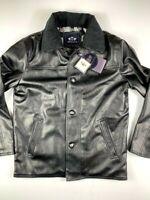 EMPORIO & CO Mens  Italian Leather Jacket Coat Size S Black