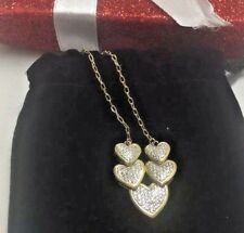"Heart Necklace Cluster Silver Bronze Diamond 18"" Ladies Fine Jewelry Gift $99VAL"