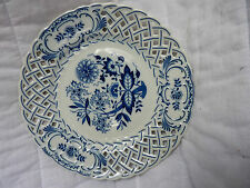 """Blue & White Pierced Plate W/Hanger By Hutschenreuther Of Germany Marked, """"1814"""""""