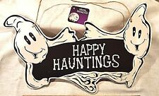 "Halloween Grinning Ghost Plaque Sign Wood Black White 15x9 ""Happy Hauntings"""