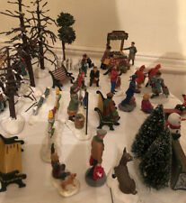 Lot Of 25 Christmas Village Accessories, Figures, Lemax, Dept 56 And Unbranded