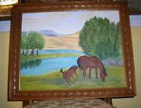 VINTAGE EQUESTRIAN BROWN HORSES MOM COLT FOAL STREAM PASTURE LANDSCAPE PAINTING