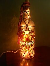 Wine Bottle Lamp Motor Cycle/ Biker Inspiered StainedGlass look Hand Painted
