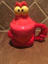 Disney On Ice Sebastian the Crab Little Mermaid  Flip Top Drinking Glass Cup Mug