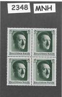 #2348     MNH postage stamp BLOCK  / Adolph Hitler / 1937 Birthday / Third Reich